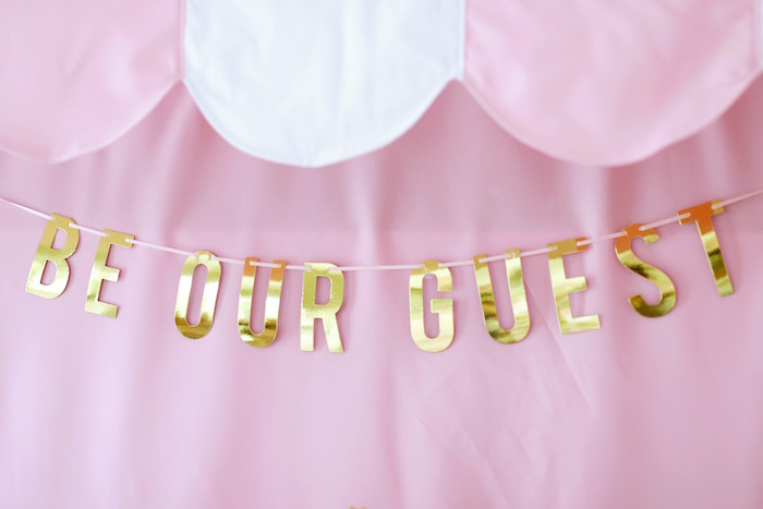 "Golf Foil 'Be Our Guest' Banner from a ""Be Our Guest"" Beauty & the Beast High Tea on Kara's Party Ideas 