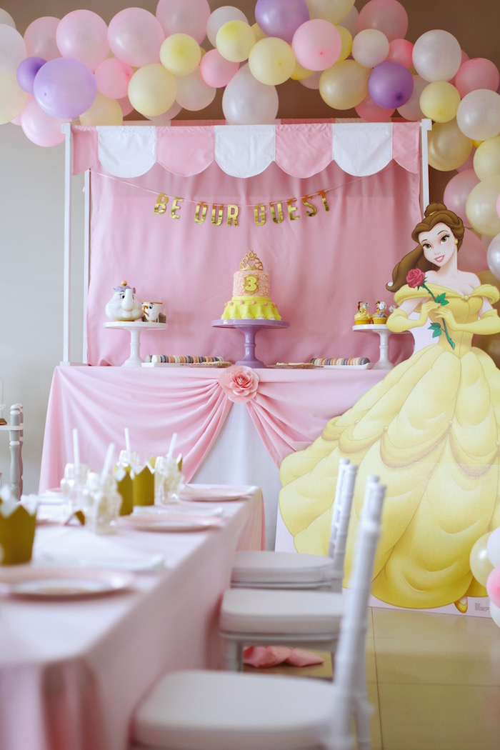 "Party Tables from a ""Be Our Guest"" Beauty & the Beast High Tea on Kara's Party Ideas 
