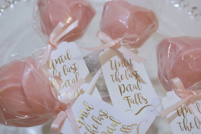 "'Until the last petal falls' - Chocolate Rose Lollipops from a ""Be Our Guest"" Beauty & the Beast High Tea on Kara's Party Ideas 