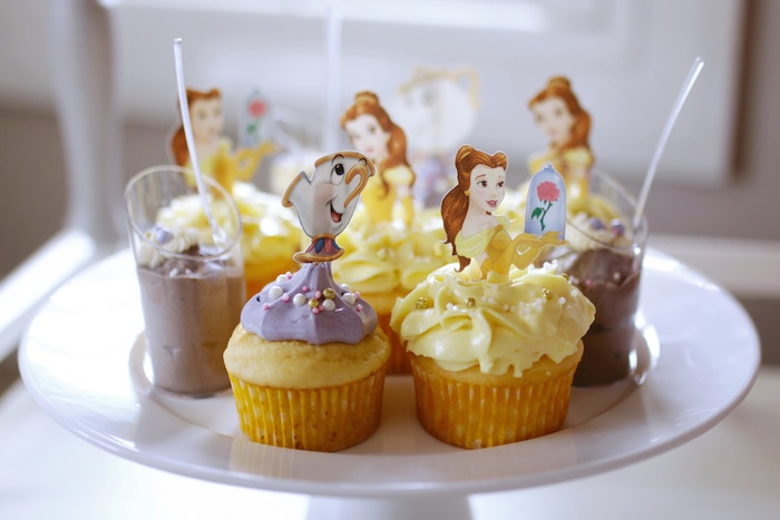 "Chip & Belle Cupcakes from a ""Be Our Guest"" Beauty & the Beast High Tea on Kara's Party Ideas 