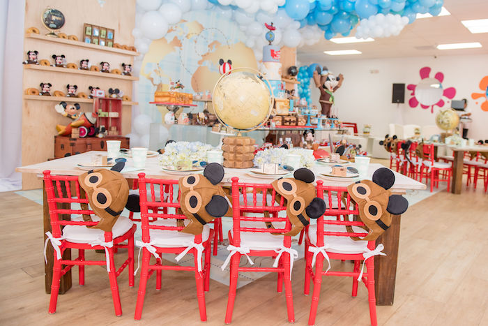 Aviator Mickey Mouse Guest Table from an Aviator Mickey Mouse Birthday Party on Kara's Party Ideas | KarasPartyIdeas.com (42)
