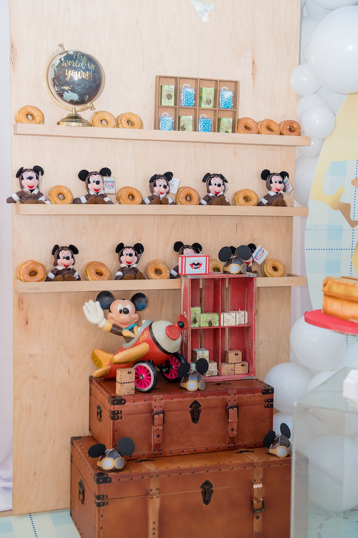 Mickey Mouse Donut Bar from an Aviator Mickey Mouse Birthday Party on Kara's Party Ideas | KarasPartyIdeas.com (38)