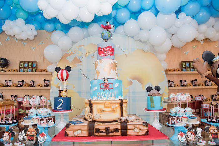 Aviator Mickey Mouse Cake + Dessert Table from an Aviator Mickey Mouse Birthday Party on Kara's Party Ideas | KarasPartyIdeas.com (36)