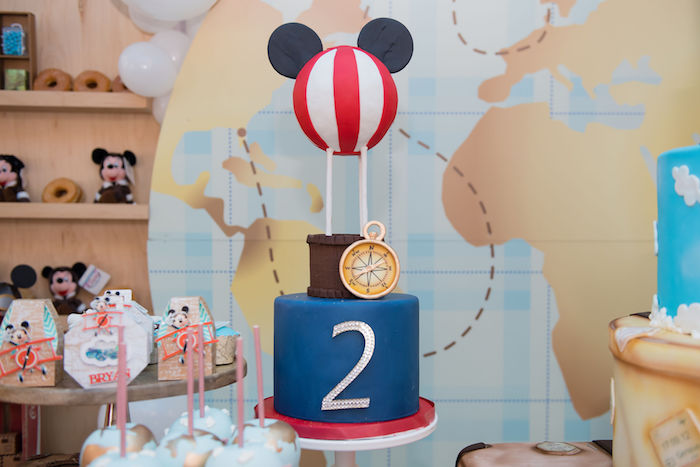 Hot Air Balloon Mickey Mouse Cake from an Aviator Mickey Mouse Birthday Party on Kara's Party Ideas | KarasPartyIdeas.com (34)