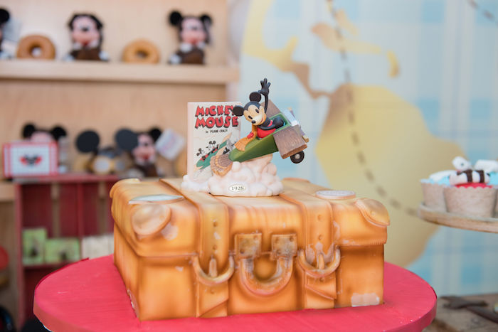 Suitcase Cake from an Aviator Mickey Mouse Birthday Party on Kara's Party Ideas | KarasPartyIdeas.com (33)