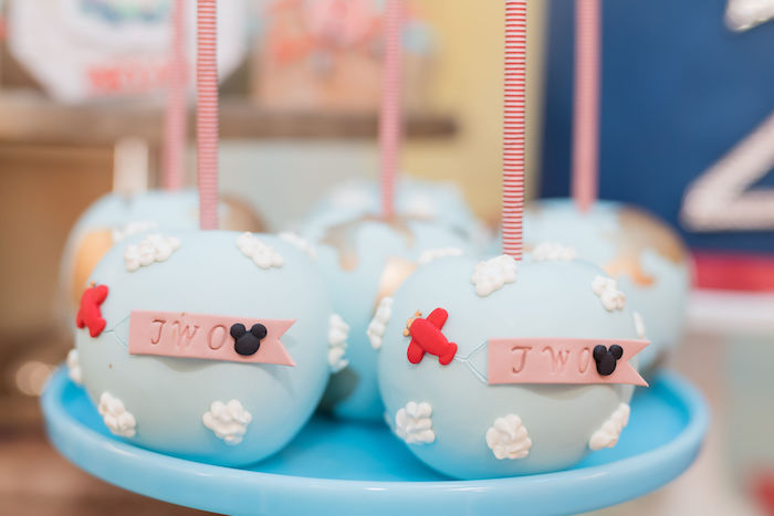 Aviator + Airplane Cake Pops from an Aviator Mickey Mouse Birthday Party on Kara's Party Ideas | KarasPartyIdeas.com (30)