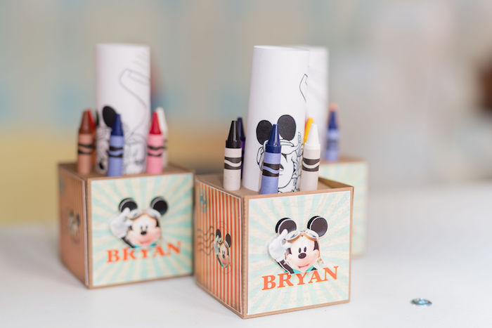 Mickey Mouse Coloring Boxes from an Aviator Mickey Mouse Birthday Party on Kara's Party Ideas | KarasPartyIdeas.com (26)