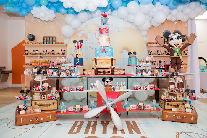 Mickey Mouse + Aviator Themed Dessert Table from an Aviator Mickey Mouse Birthday Party on Kara's Party Ideas | KarasPartyIdeas.com (50)