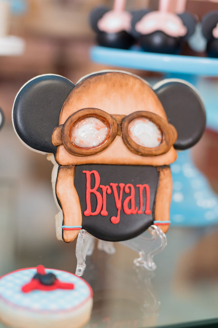 Mickey Mouse Aviator Cookie from an Aviator Mickey Mouse Birthday Party on Kara's Party Ideas | KarasPartyIdeas.com (21)