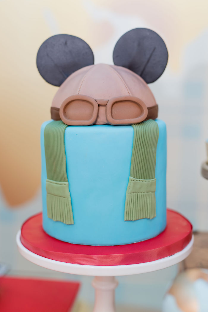 Aviator Mickey Mouse Cake from an Aviator Mickey Mouse Birthday Party on Kara's Party Ideas | KarasPartyIdeas.com (19)