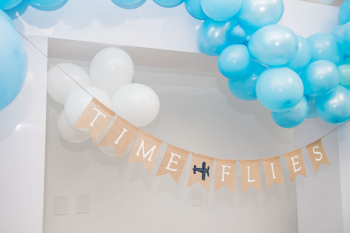 Time Flies Airplane Banner from an Aviator Mickey Mouse Birthday Party on Kara's Party Ideas | KarasPartyIdeas.com (10)