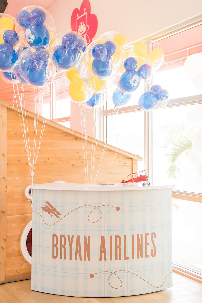 Balloon Station from an Aviator Mickey Mouse Birthday Party on Kara's Party Ideas | KarasPartyIdeas.com (43)