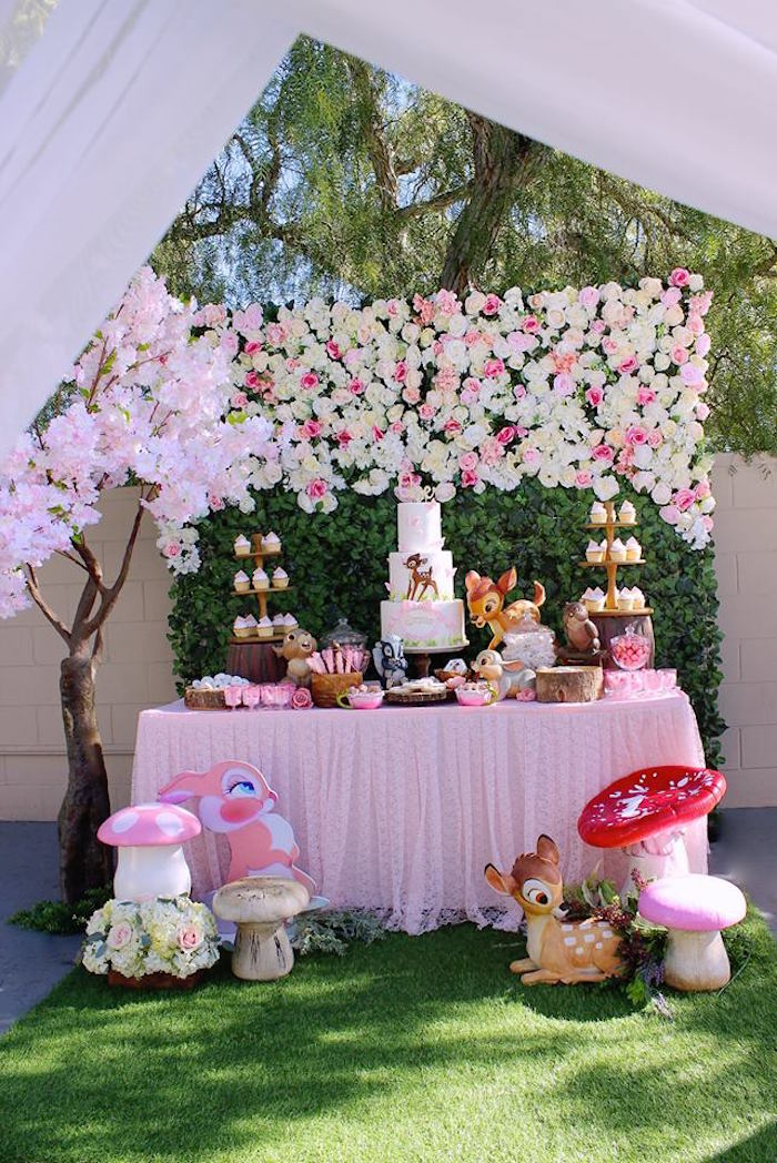 Bambi Themed Dessert Table from a Bambi Inspired Woodland Birthday Party on Kara's Party Ideas | KarasPartyIdeas.com (13)