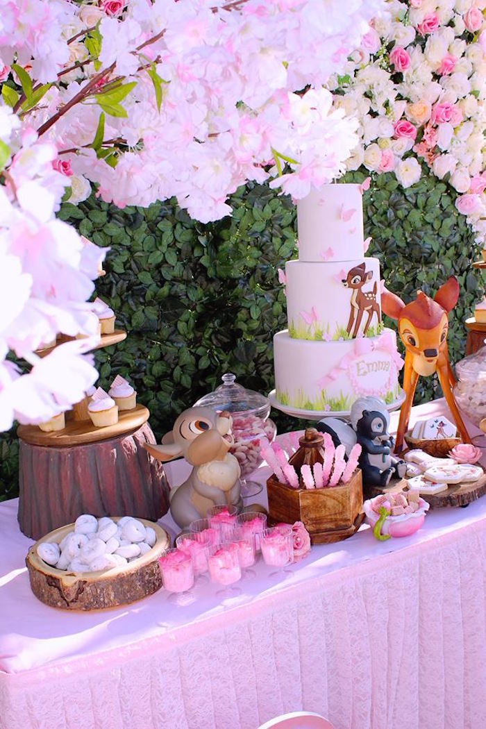 Bambi Themed Dessert Table from a Bambi Inspired Woodland Birthday Party on Kara's Party Ideas | KarasPartyIdeas.com (10)