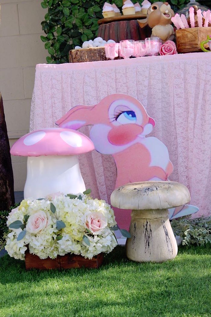 Toadstools + Blooms and Pink Rabbit from a Bambi Inspired Woodland Birthday Party on Kara's Party Ideas   KarasPartyIdeas.com (9)