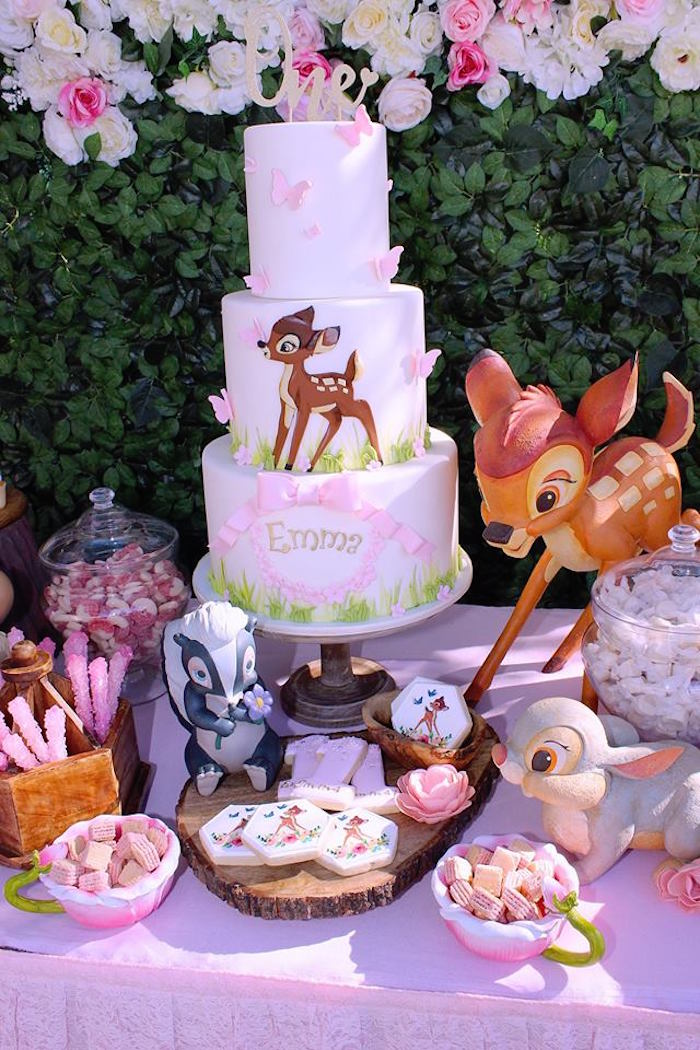 Bambi Themed Cake Table from a Bambi Inspired Woodland Birthday Party on Kara's Party Ideas | KarasPartyIdeas.com (8)