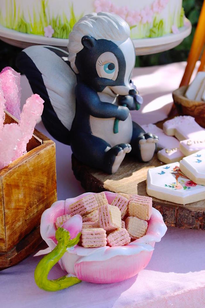 Pink Wafers in a Flower Bowl from a Bambi Inspired Woodland Birthday Party on Kara's Party Ideas   KarasPartyIdeas.com (6)