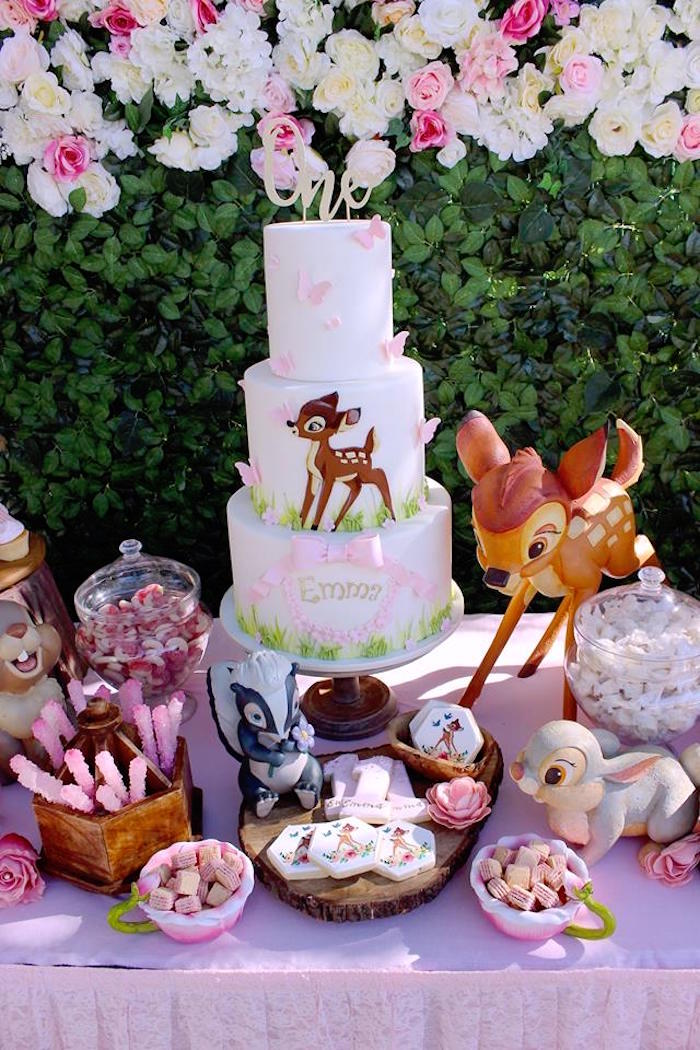 Bambi Cake + Cake Table from a Bambi Inspired Woodland Birthday Party on Kara's Party Ideas | KarasPartyIdeas.com (16)