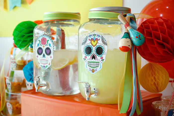 Day of the Dead Beverage Dispensers from a Coco + Day of the Dead Birthday Party on Kara's Party Ideas | KarasPartyIdeas.com (17)