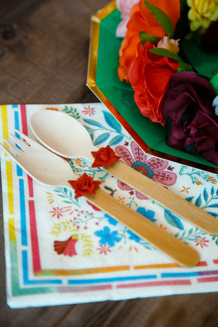 Flower-adorned Wooden Utensils + Napkin from a Coco + Day of the Dead Birthday Party on Kara's Party Ideas | KarasPartyIdeas.com (15)