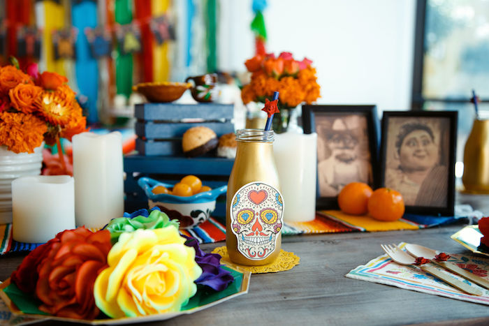 Day of the Dead Drink Bottle from a Coco + Day of the Dead Birthday Party on Kara's Party Ideas | KarasPartyIdeas.com (13)