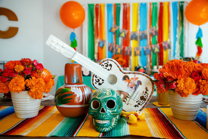 Coco Themed Table Centerpiece from a Coco + Day of the Dead Birthday Party on Kara's Party Ideas | KarasPartyIdeas.com (12)