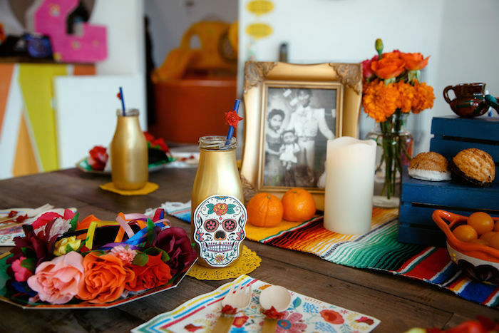 Day of the Dead Table Setting + Guest Table from a Coco + Day of the Dead Birthday Party on Kara's Party Ideas | KarasPartyIdeas.com (11)