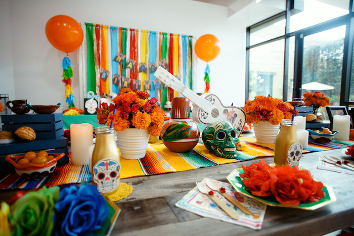 Day of the Dead Themed Guest Table from a Coco + Day of the Dead Birthday Party on Kara's Party Ideas | KarasPartyIdeas.com (10)