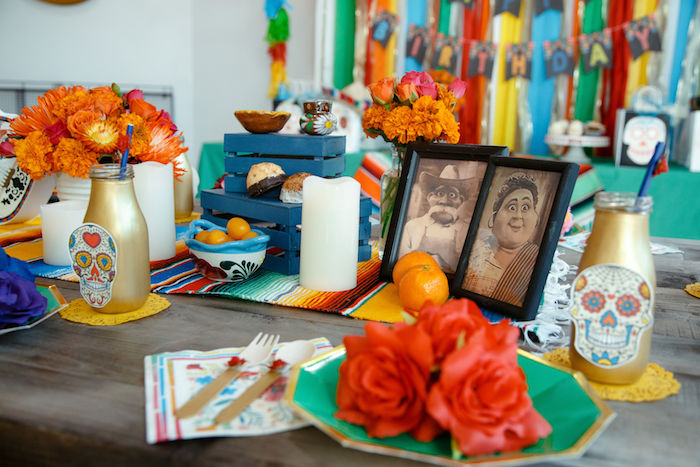Day of the Dead/Coco Themed Guest Table from a Coco + Day of the Dead Birthday Party on Kara's Party Ideas | KarasPartyIdeas.com (29)