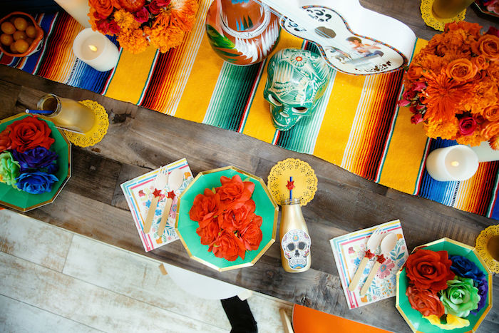 Day of the Dead/Coco Themed Guest Table from a Coco + Day of the Dead Birthday Party on Kara's Party Ideas | KarasPartyIdeas.com (28)