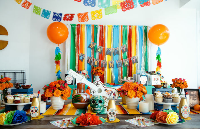Coco-inspired Party Tables from a Coco + Day of the Dead Birthday Party on Kara's Party Ideas | KarasPartyIdeas.com (22)