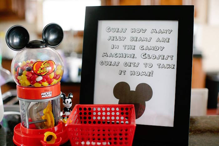 Mickey Mouse Jelly Bean Guess Game from a DIY Modern Throwback Mickey Mouse Birthday Party on Kara's Party Ideas | KarasPartyIdeas.com (14)