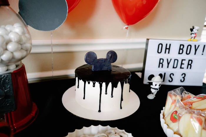 Mickey Mouse Drip Cake from a DIY Modern Throwback Mickey Mouse Birthday Party on Kara's Party Ideas | KarasPartyIdeas.com (13)