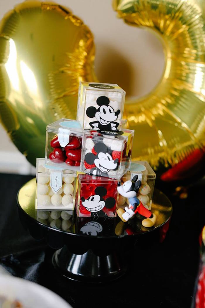 Mickey Mouse-adorned Candy Favor Boxes from a DIY Modern Throwback Mickey Mouse Birthday Party on Kara's Party Ideas | KarasPartyIdeas.com (11)