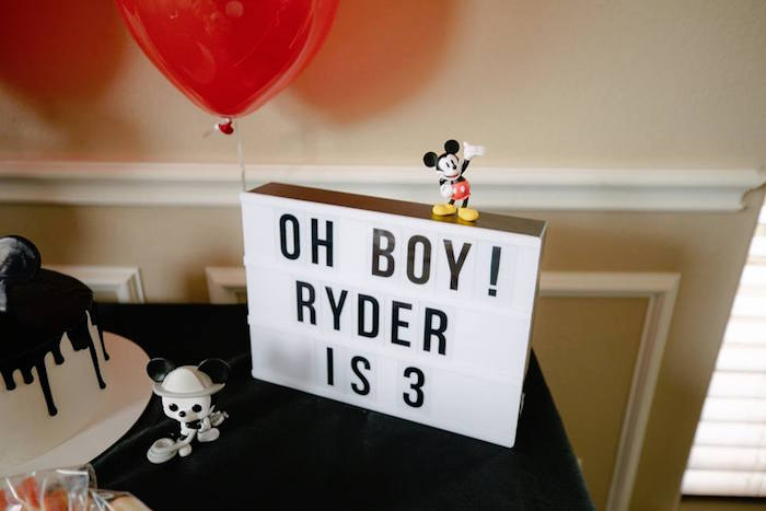 Lightbox Sign from a DIY Modern Throwback Mickey Mouse Birthday Party on Kara's Party Ideas | KarasPartyIdeas.com (10)