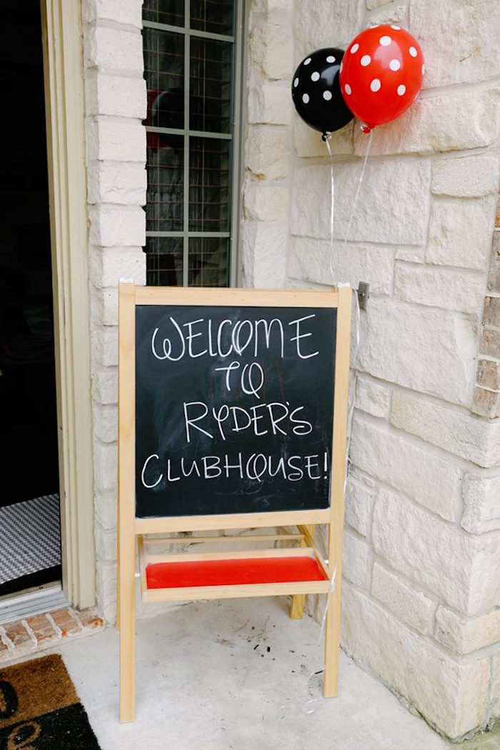 Chalkboard Welcome Sign from a DIY Modern Throwback Mickey Mouse Birthday Party on Kara's Party Ideas | KarasPartyIdeas.com (9)