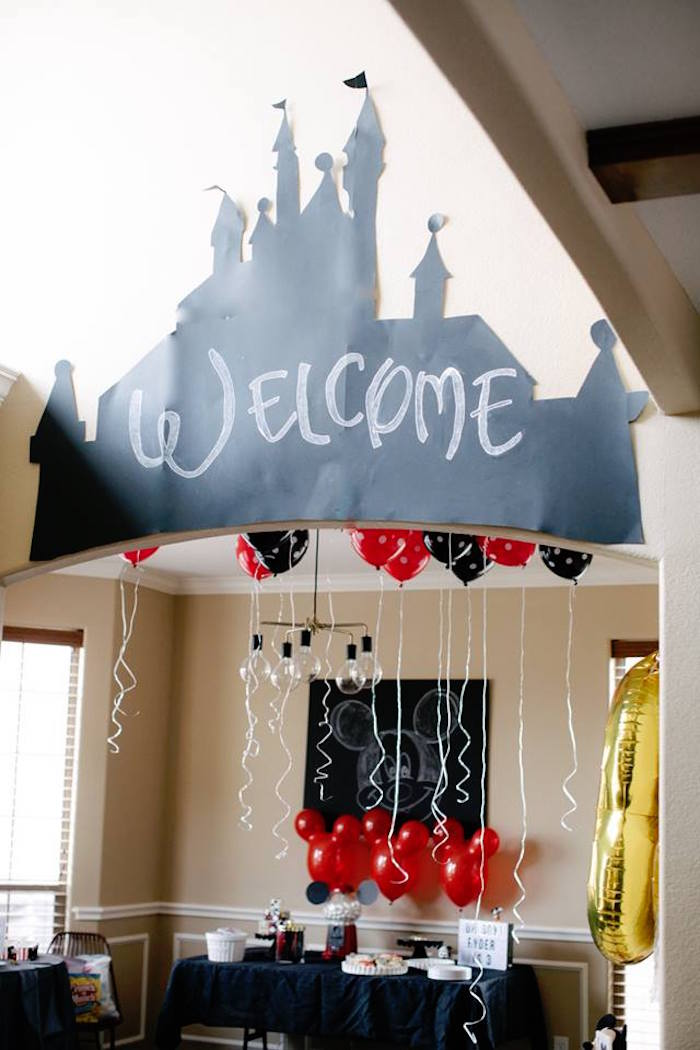 "Disney Castle ""Welcome"" Arch from a DIY Modern Throwback Mickey Mouse Birthday Party on Kara's Party Ideas 