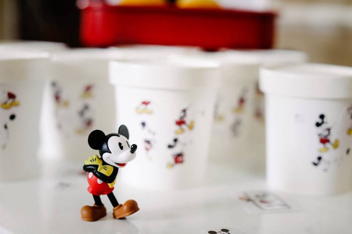 Mickey Mouse Figurine + Cups from a DIY Modern Throwback Mickey Mouse Birthday Party on Kara's Party Ideas | KarasPartyIdeas.com (7)