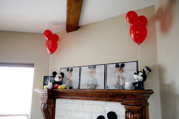 Mickey Mouse Mantle from a DIY Modern Throwback Mickey Mouse Birthday Party on Kara's Party Ideas | KarasPartyIdeas.com (3)