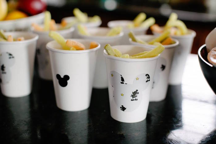 Monochromatic Mickey Mouse Snack Cups from a DIY Modern Throwback Mickey Mouse Birthday Party on Kara's Party Ideas | KarasPartyIdeas.com (2)