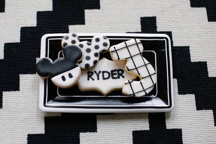 Mono Mickey Mouse Cookies from a DIY Modern Throwback Mickey Mouse Birthday Party on Kara's Party Ideas | KarasPartyIdeas.com (20)