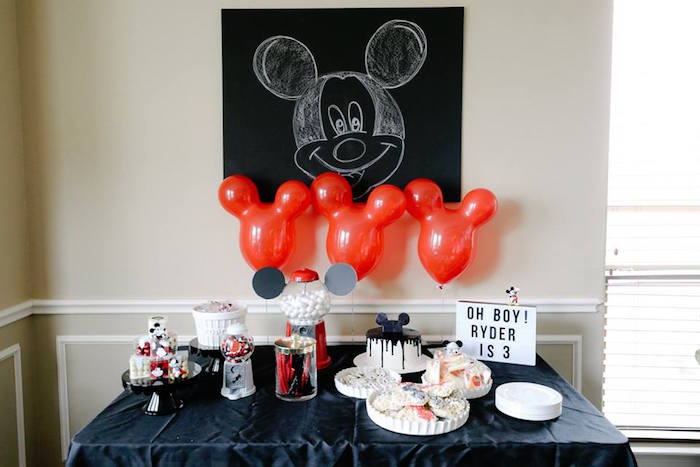 Mickey Mouse Dessert Table from a DIY Modern Throwback Mickey Mouse Birthday Party on Kara's Party Ideas | KarasPartyIdeas.com (16)