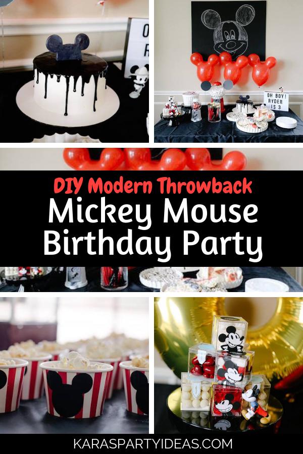 DIY Modern Throwback Mickey Mouse Birthday Party via Kara's Party Ideas - KarasPartyIdeas.com