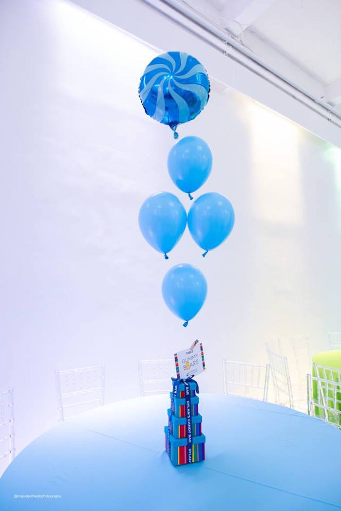 Candy Land Themed Blue Table from Dylan's Candy Bar Inspired Birthday Party on Kara's Party Ideas | KarasPartyIdeas.com (20)