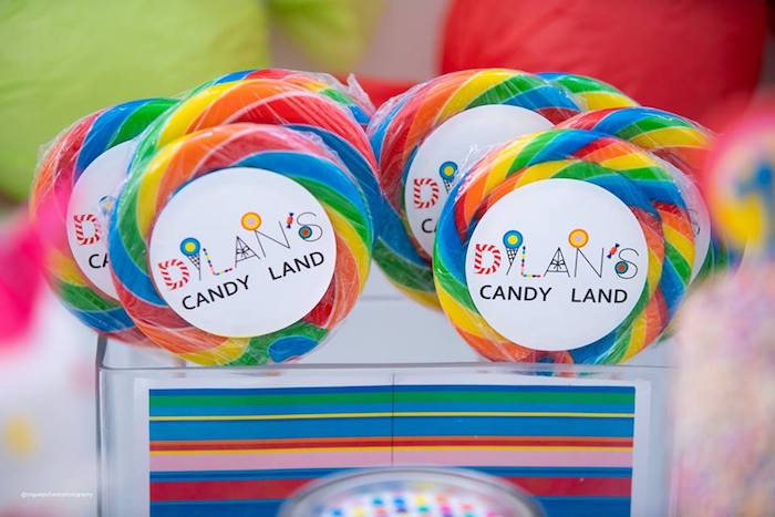 Candy Labeled Swirl Lollipops from Dylan's Candy Bar Inspired Birthday Party on Kara's Party Ideas | KarasPartyIdeas.com (19)