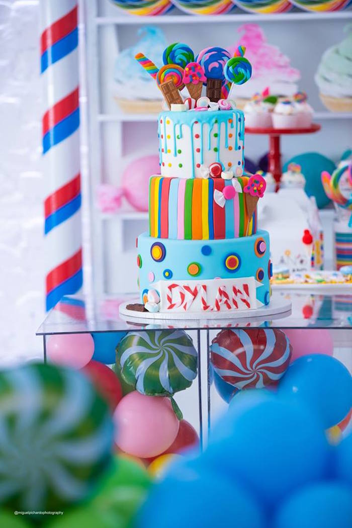Candy Land Cake from Dylan's Candy Bar Inspired Birthday Party on Kara's Party Ideas | KarasPartyIdeas.com (17)