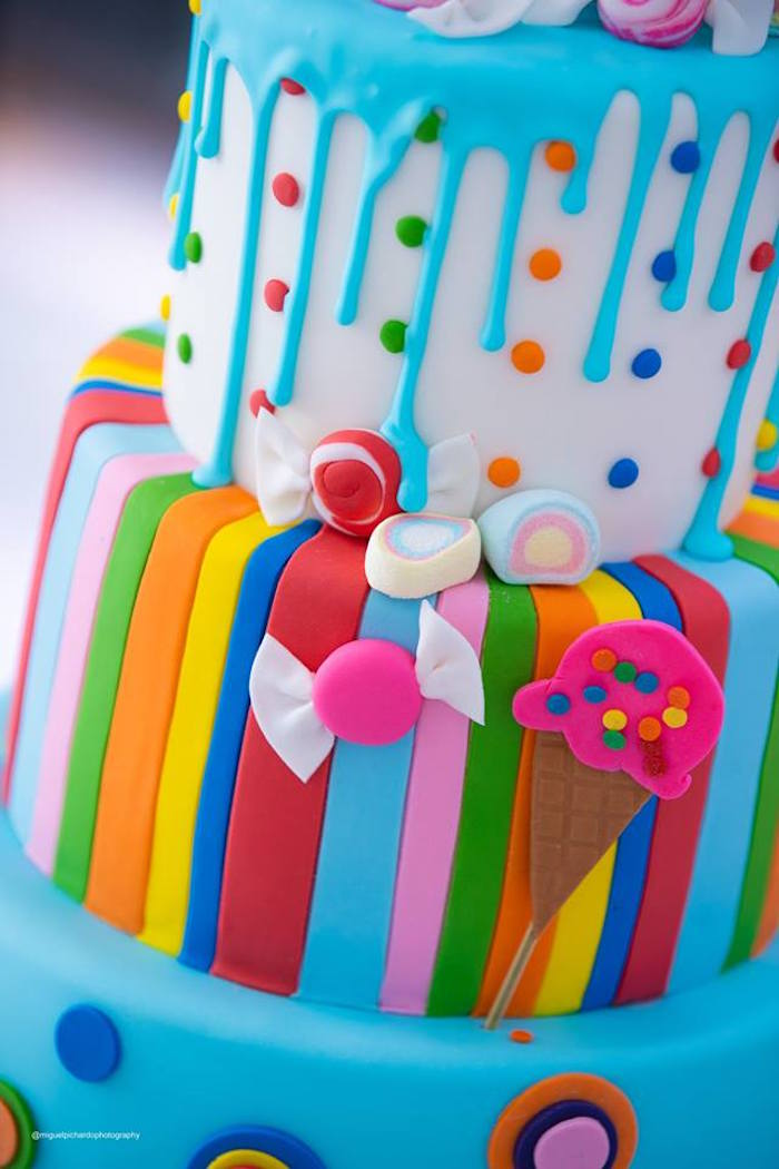 Candy Themed Cake Detail from Dylan's Candy Bar Inspired Birthday Party on Kara's Party Ideas | KarasPartyIdeas.com (15)