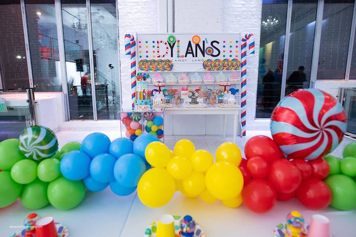 Candy Themed Balloon Runner + Dessert Table from Dylan's Candy Bar Inspired Birthday Party on Kara's Party Ideas | KarasPartyIdeas.com (4)