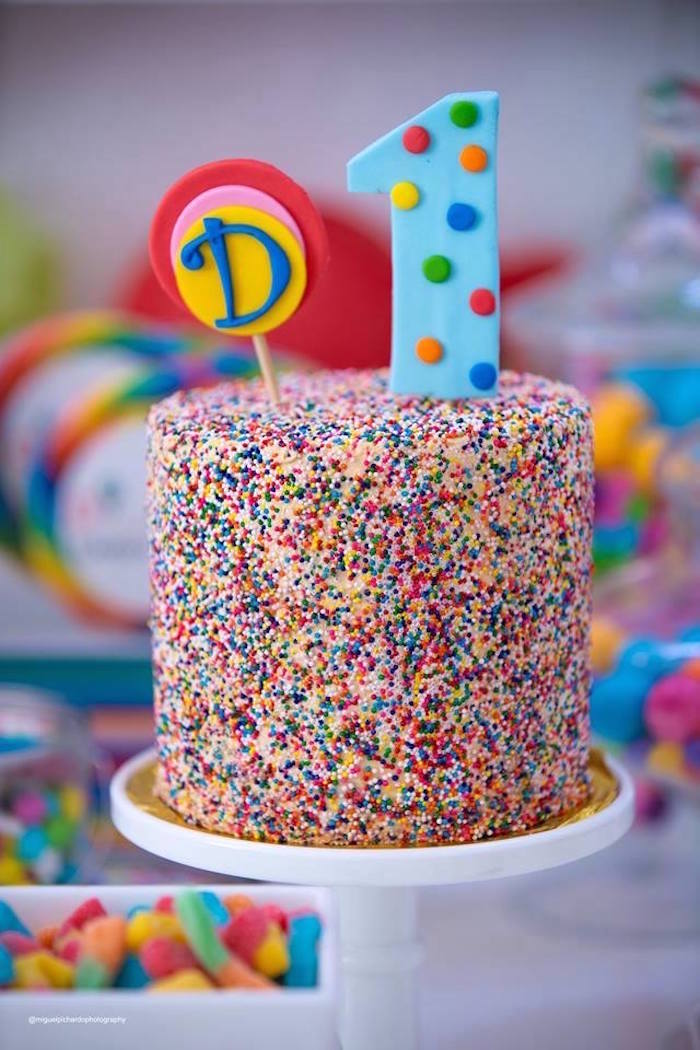 Sprinkle Confetti Cake from Dylan's Candy Bar Inspired Birthday Party on Kara's Party Ideas | KarasPartyIdeas.com (24)