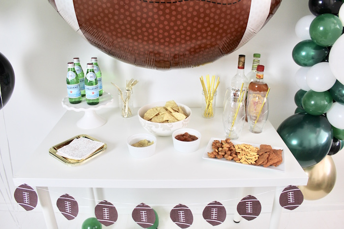 Snack & Beverage Table from a Football Party Drink & Snack Bar on Kara's Party Ideas | KarasPartyIdeas.com (9)